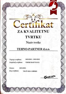 certifikat za kvalitetnu tvrtku